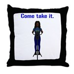 Molon Labe (Gatling, Female) Throw Pillow