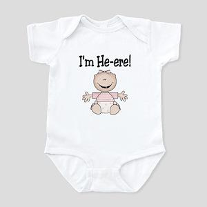 I'm He-ere! Infant Bodysuit, Caucasian Girl