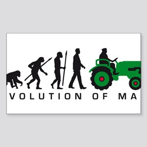 evolution of man farmer with a tractor Sticker