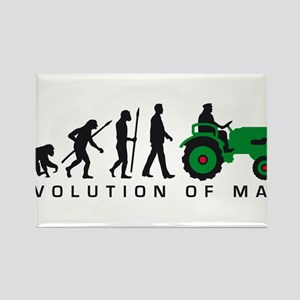 evolution of man farmer with a tractor Rectangle M