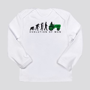 evolution of man farmer with a tractor Long Sleeve