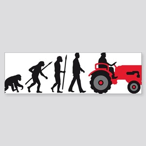 evolution of man farmer with a tractor Bumper Stic