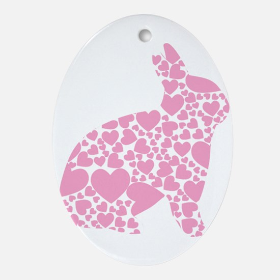 Easter Bunny Hearts Ornament (Oval)