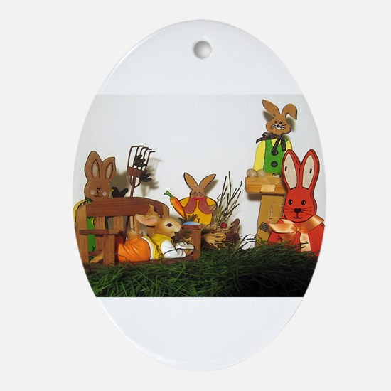 Easter Bunnies Ornament (Oval)