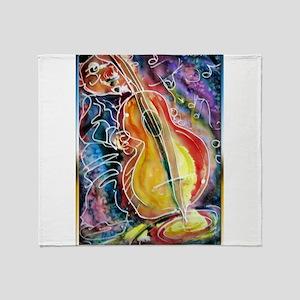 Bass player, fun music art Throw Blanket