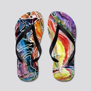 Bass player, fun music art Flip Flops