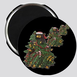 BEARS IN XMAS TREES ON BLACK Magnet
