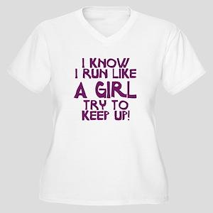 I know I run like a girl Women's Plus Size V-Neck