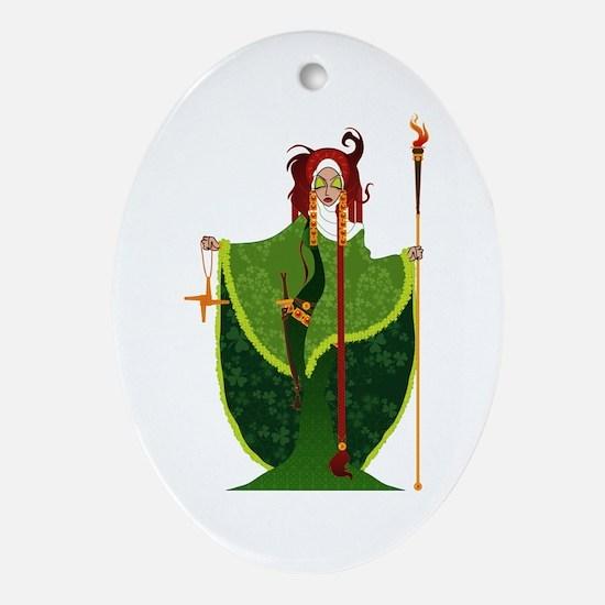 St. Brigid of Ireland Ornament (Oval)
