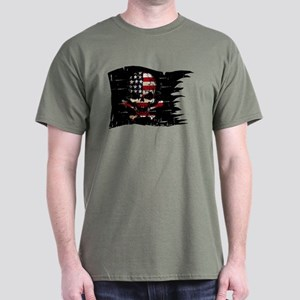 distressed-USA FLAG-SKULL T-Shirt