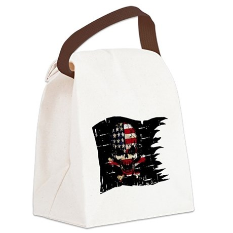 distressed-USA FLAG-SKULL Canvas Lunch Bag