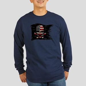 distressed-USA FLAG-SKULL Long Sleeve T-Shirt