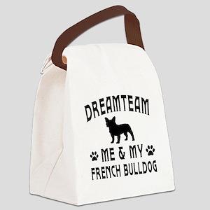 French Bulldog Dog Designs Canvas Lunch Bag
