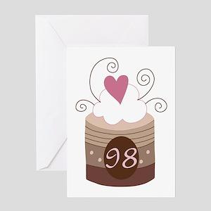 98th Birthday Cupcake Greeting Card