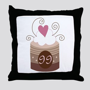 99th Birthday Cupcake Throw Pillow