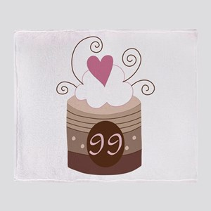 99th Birthday Cupcake Throw Blanket
