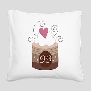 99th Birthday Cupcake Square Canvas Pillow