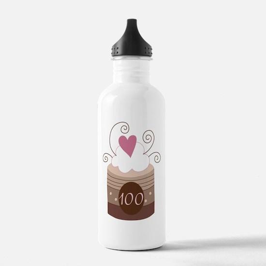 100th Birthday Cupcake Water Bottle