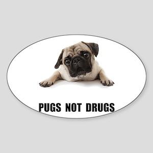 Pugs Not Drugs Black Sticker