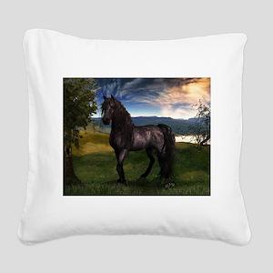 Freisian Horse Square Canvas Pillow