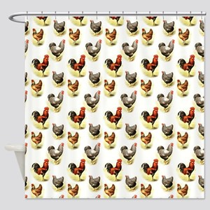 Country Chicken Pattern Shower Curtain