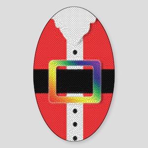 RAINBOW TEXTURED SANTA BUCKLE Oval Sticker