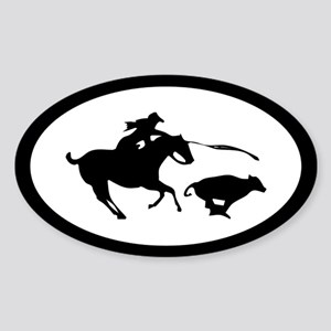 Calf Roping Cowgirl Oval Sticker