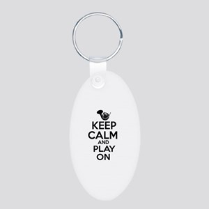 French Horn lover designs Aluminum Oval Keychain