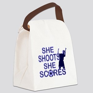 She shoots she scores soccer Canvas Lunch Bag