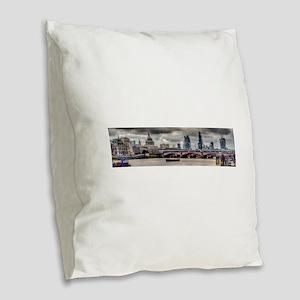 City Beacons Burlap Throw Pillow