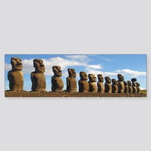"15 Moai on Easter Island ""tiki"" bumper sticker"