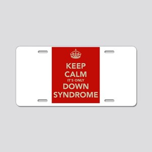 Kee Calm It's Only Down Syndrome Aluminum License