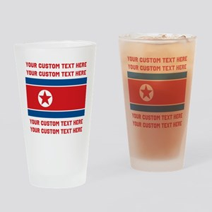 CUSTOM TEXT North Korea Flag Drinking Glass