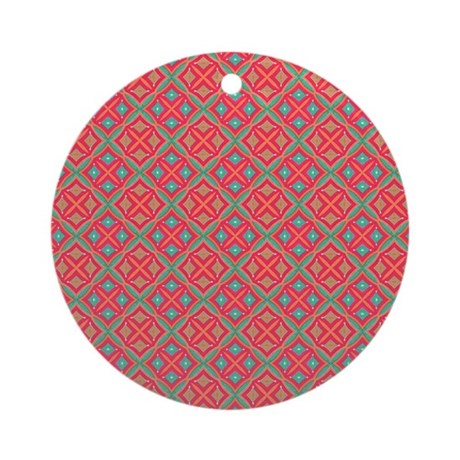 Pink Teal Geometric Pattern Ornament (Round) by pinkinkart