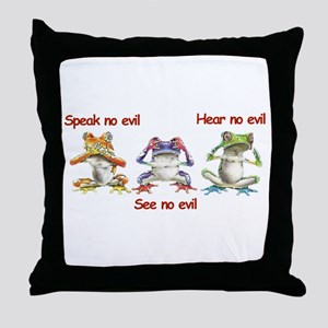 Three Frogs Throw Pillow