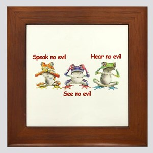 Three Frogs Framed Tile