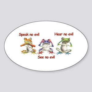 Three Frogs Oval Sticker