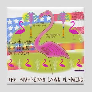 Flamingo Lawn Art Tile Coaster
