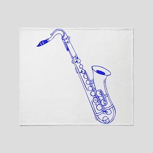 Blue Saxophone Throw Blanket