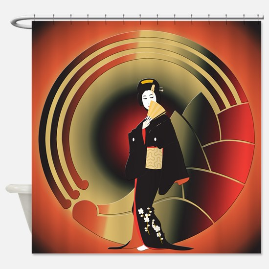 Japanese Woman in an Art Deco World Shower Curtain