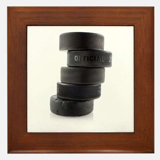 Official Ice Hockey Pucks Framed Tile