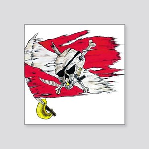 Red Dive Flag Skull Rectangle Sticker