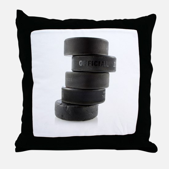 Official Ice Hockey Pucks Throw Pillow
