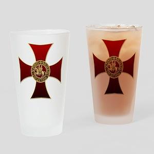 Templar cross and seal Drinking Glass