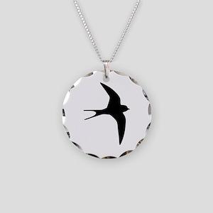 Swallow bird Necklace Circle Charm