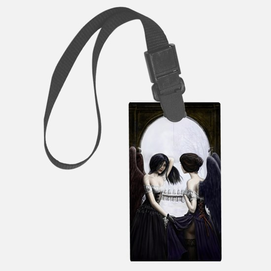skull illusion square.jpg Luggage Tag