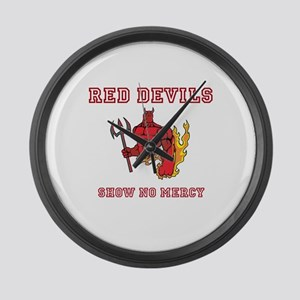 Red Devils Show No Mercy Large Wall Clock
