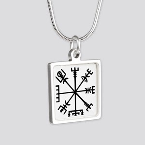 Viking Compass : Vegvisir Silver Square Necklace