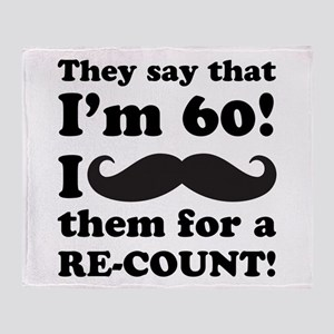Funny Mustache 60th Birthday Throw Blanket