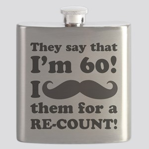 Funny Mustache 60th Birthday Flask
